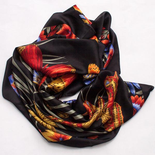 silk shawl black