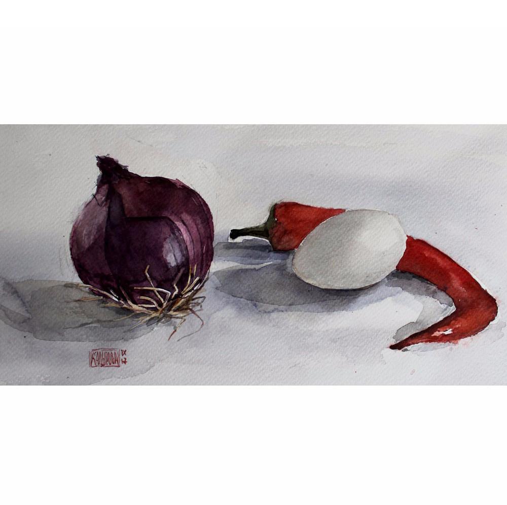 Натюрморт с луком перцем и яйцом - Картина, акварель, оригинал