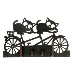 "Decorative key holder for wall ""two cats"""