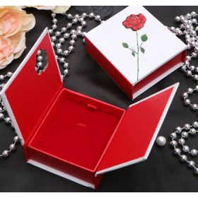 "Jewelry gift box under the pendant / earrings / ring ""Rose with thorns"", 7.5 * 7.5 * 3, color white-red"