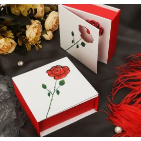 Jewelry Gift box under the bracelet & quot; Rose with thorns & quot; 9 * 9.5 * 3.5, color white-red