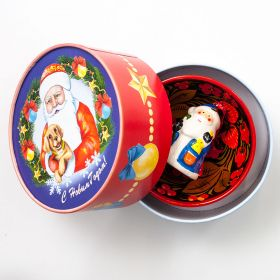 Gift set Khokhloma with Santa Claus Figurine