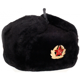 Russian Hat, Ushanka Soviet Army Air force Fur Military - L
