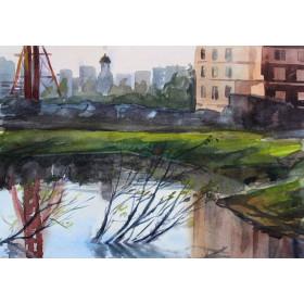 Пейзаж с озером - Картина, акварель, оригинал