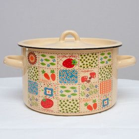 "Enameled Saucepot ""Patchwork"""