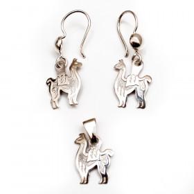 Amulet Pendant & Earrings 950 Sterling Silver Peruvian Llama