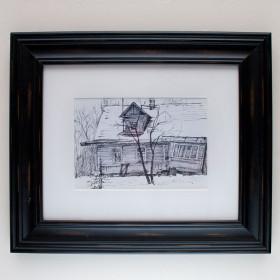 Дом - Картина, линер и маркер, оригинал