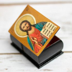 Jewelry box with Jesus icon, lacquer miniature, 6x4x3 cm / jewelry box, lacquer miniature