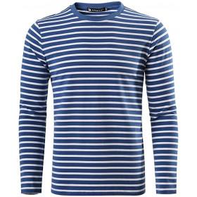 Telnyashka Men's Casual Striped T Shirt Crew Neck Long Sleeve Knitted Pullover