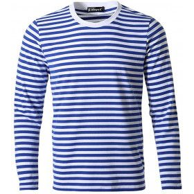 Telnyashka Long Sleeve Men's Casual Striped T Shirt Crew Neck
