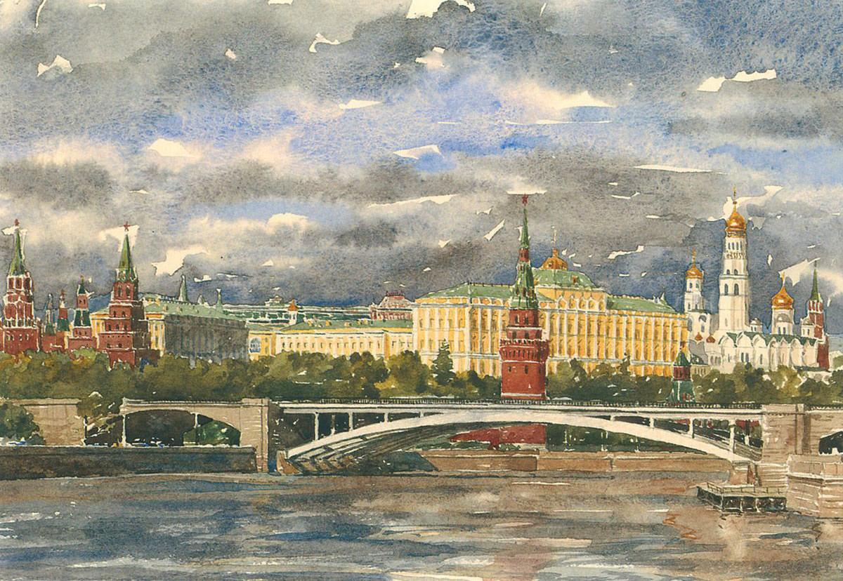 собраны открытки московского кремля задает определенную цветовую